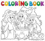 Coloring book three witches theme 1 Stock Photo