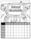 Coloring book timetable topic 3 Stock Photography
