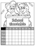 Coloring book timetable topic 2 Stock Photo
