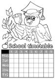 Coloring book timetable topic 4 Royalty Free Stock Photo