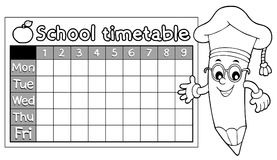 Coloring book timetable topic 7 Royalty Free Stock Photography