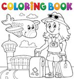 Coloring book tourist woman theme 2 royalty free illustration