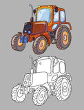 Coloring book with tractor Stock Images