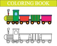 Coloring book. Train cartoon. Vector illustration. stock illustration