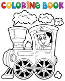 Coloring book train theme 1 Royalty Free Stock Image