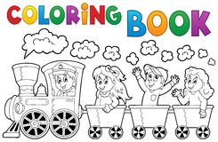 Coloring book train theme 2 Stock Photography