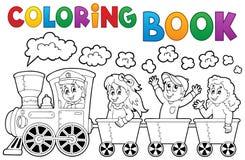 Coloring book train theme 2 stock illustration