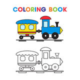 Coloring book the train with a wagon for the kids Stock Photos