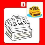 Coloring book - treasure chest stock illustration