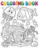 Coloring book treasure chest underwater Stock Photos