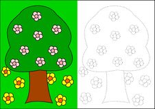 Coloring book - tree. And flowers royalty free illustration