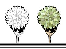 Coloring book with tree. Cartoon vector illustration for kids Stock Photo
