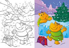 Coloring Book Of Trolls Got Christmas Gift Stock Photos