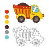 Coloring book truck, kids layout for game. Stock Photography