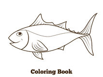 Coloring book tunny fish cartoon educational Stock Images
