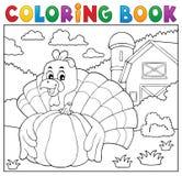 Coloring book turkey bird and pumpkin 2 vector illustration