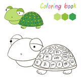 Coloring book turtle kids layout for game vector Stock Image