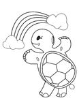 Coloring Book: Turtle, Rainbow and Clouds. Useful as coloring material for kids Royalty Free Stock Photos