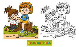 Coloring book (Two girls on the glade). Coloring book for children (Two girls on the glade, Girl draws on the plastered leg Stock Photography