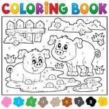 Coloring book with two happy pigs. Eps10 vector illustration Royalty Free Stock Image