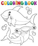 Coloring book with two sharks. Eps10 vector illustration Stock Image