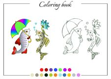 Coloring book with two talking fish Stock Photography