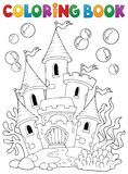 Coloring book underwater castle 1 Stock Photo