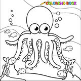 Coloring book underwater octopus.