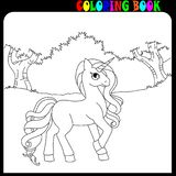 Coloring book unicorn, horse or pony theme in the garden or forest. Magic Unicorn with horn, coloring book for kids and older children. Outline drawing coloring royalty free illustration