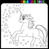 Coloring book unicorn, horse or pony theme with stars. Unicorn with horn, coloring book for kids and older children. Outline drawing coloring page. Eps10 format stock illustration