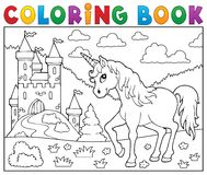 Coloring book unicorn near castle Royalty Free Stock Photography