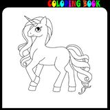Coloring book unicorne, horse or pony theme. Unicorn, coloring book for kids and older children. Outline drawing coloring page. Eps10 vector illustration royalty free illustration