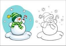 Coloring book. Vector card concept - Cute snowman. Stock Photography