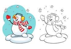 Coloring book. Vector card concept - Cute snowman. Stock Image