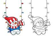 Coloring book. Vector card concept - Cute snowman. Royalty Free Stock Photos