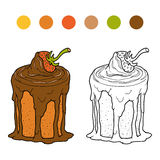 Coloring book, vector chocolate cake with strawberry Royalty Free Stock Photo