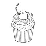 Coloring book, vector cupcake with cherry berry Stock Photography
