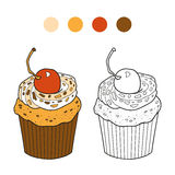 Coloring book, vector cupcake with cherry berry. Coloring book for children, vector cupcake with cherry berry royalty free illustration
