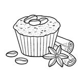 Coloring book, vector cupcake with coffee beans Stock Photography
