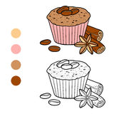 Coloring book, vector cupcake with coffee beans Royalty Free Stock Photography