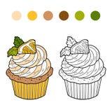 Coloring book, vector cupcake with lemon Royalty Free Stock Photos