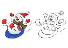 Coloring book. Vector Cute snowman. Stock Image