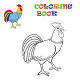 Coloring Book. Vector illustration of a rooster Stock Photo
