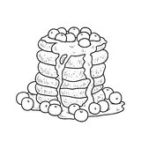 Coloring book, vector pancakes with blueberry Stock Photo