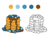 Coloring book, vector pancakes with blueberry Stock Image