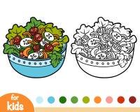 Coloring book, Vegetables salad bowl. Coloring book for children, Vegetables salad bowl stock illustration