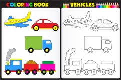 Coloring book vehicles. Coloring book page for kids with colorful vehicles /toys and sketches to color royalty free illustration