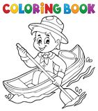 Coloring book water scout boy theme 1 Stock Photography