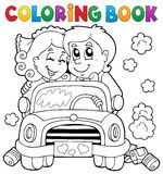 Coloring book wedding car royalty free illustration