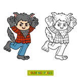 Coloring book, Werewolf Stock Images